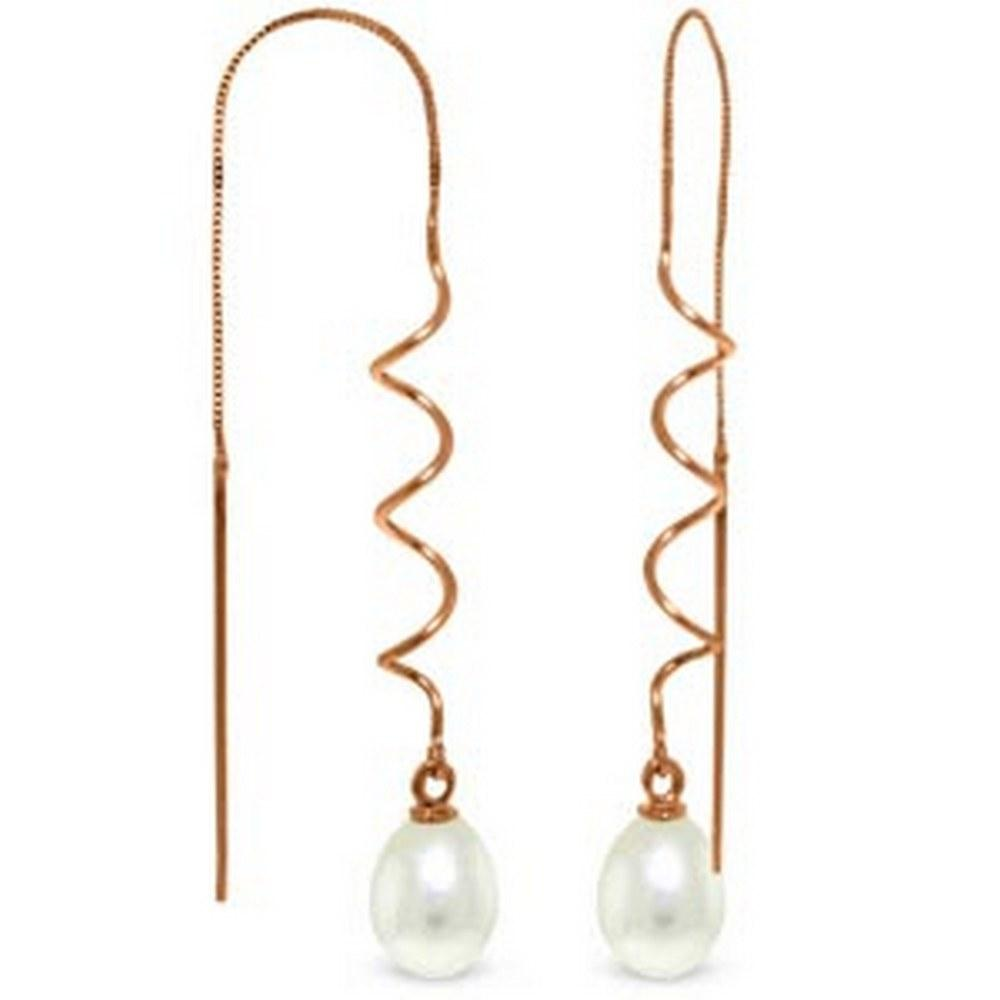 14K Solid Rose Gold Threaded Dangles Earrings with pearls #1AC93563