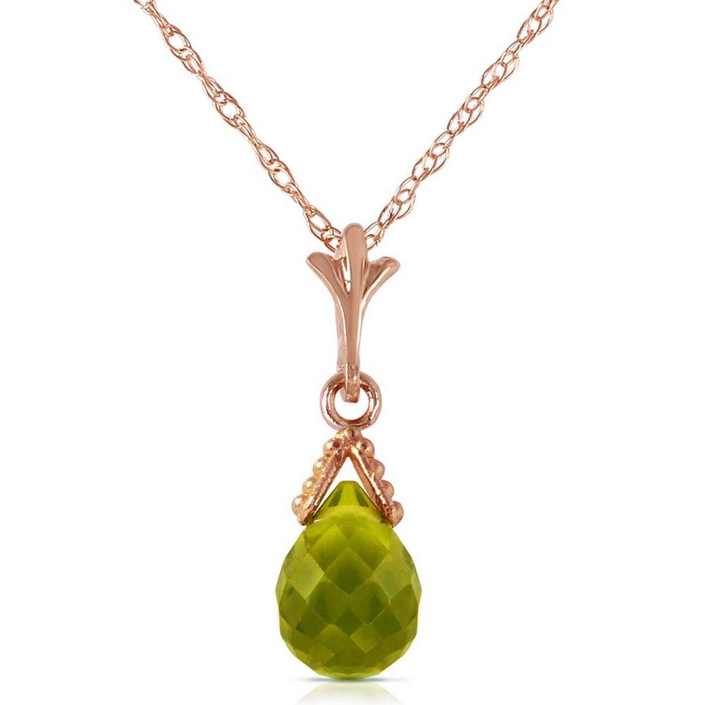 2.5 CTW 14K Solid Rose Gold Necklace Briolette Peridot #1AC91908