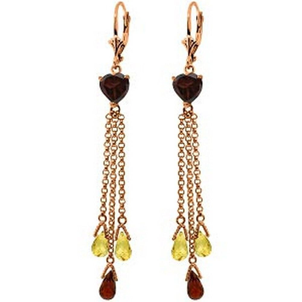 14K Solid Rose Gold Chandelier Earrings with Briolette Garnets & Citrines #1AC91758
