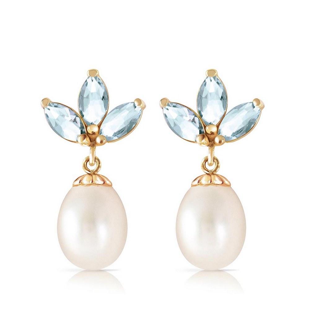 9.5 CTW 14K Solid Gold Dangling Earrings pearl Aquamarine #1AC93080