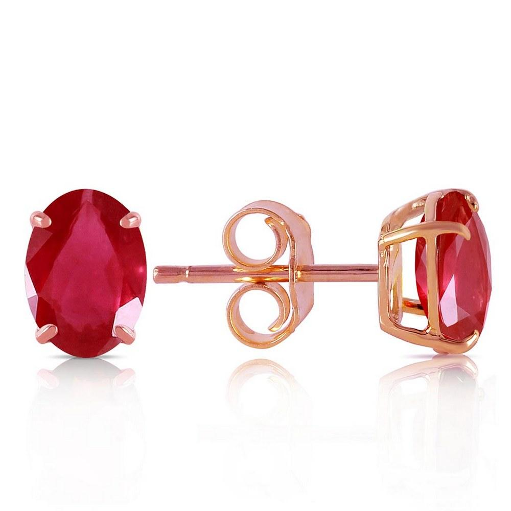 1.8 Carat 14K Solid Rose Gold Stud Earrings Natural Ruby #1AC92073