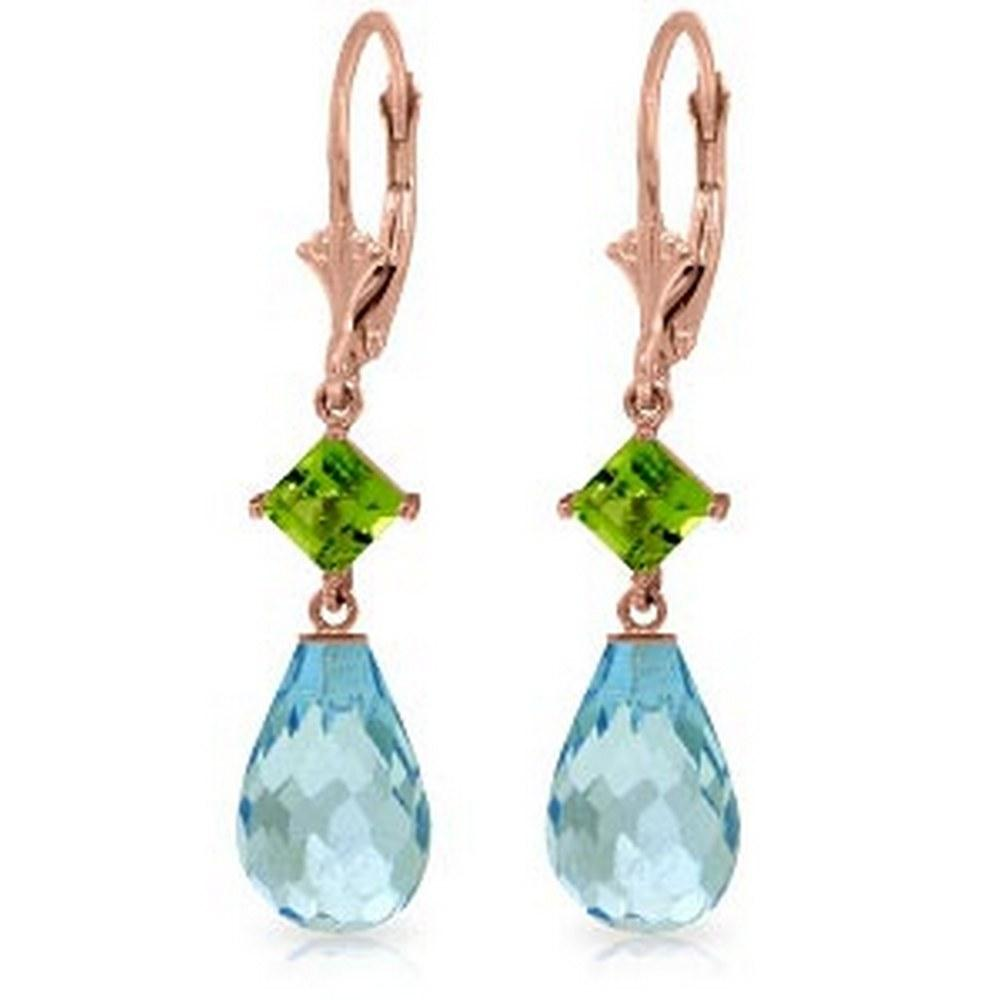 14K Solid Rose Gold Leverback Earrings with Peridot & Blue Topaz #1AC93911