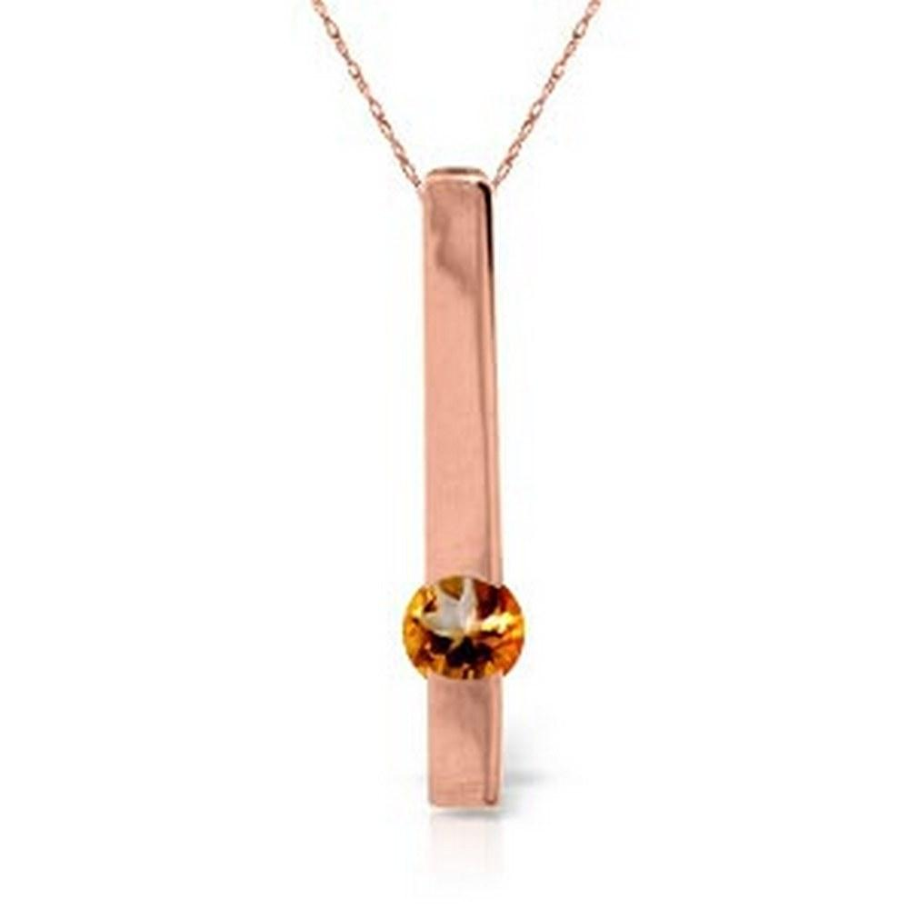 0.25 CTW 14K Solid Rose Gold Necklace Naturalcitrine #1AC92040