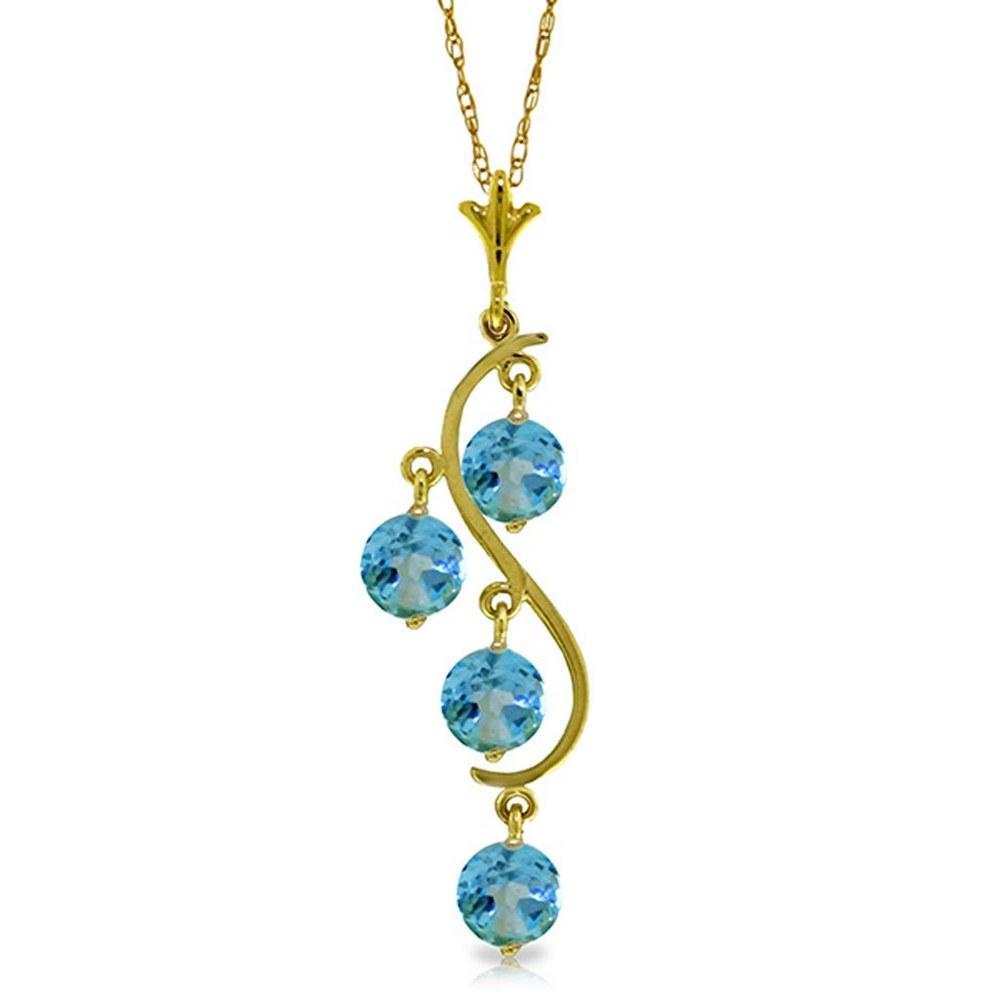 2.25 Carat 14K Solid Gold Echoes Blue Topaz Necklace #1AC91889