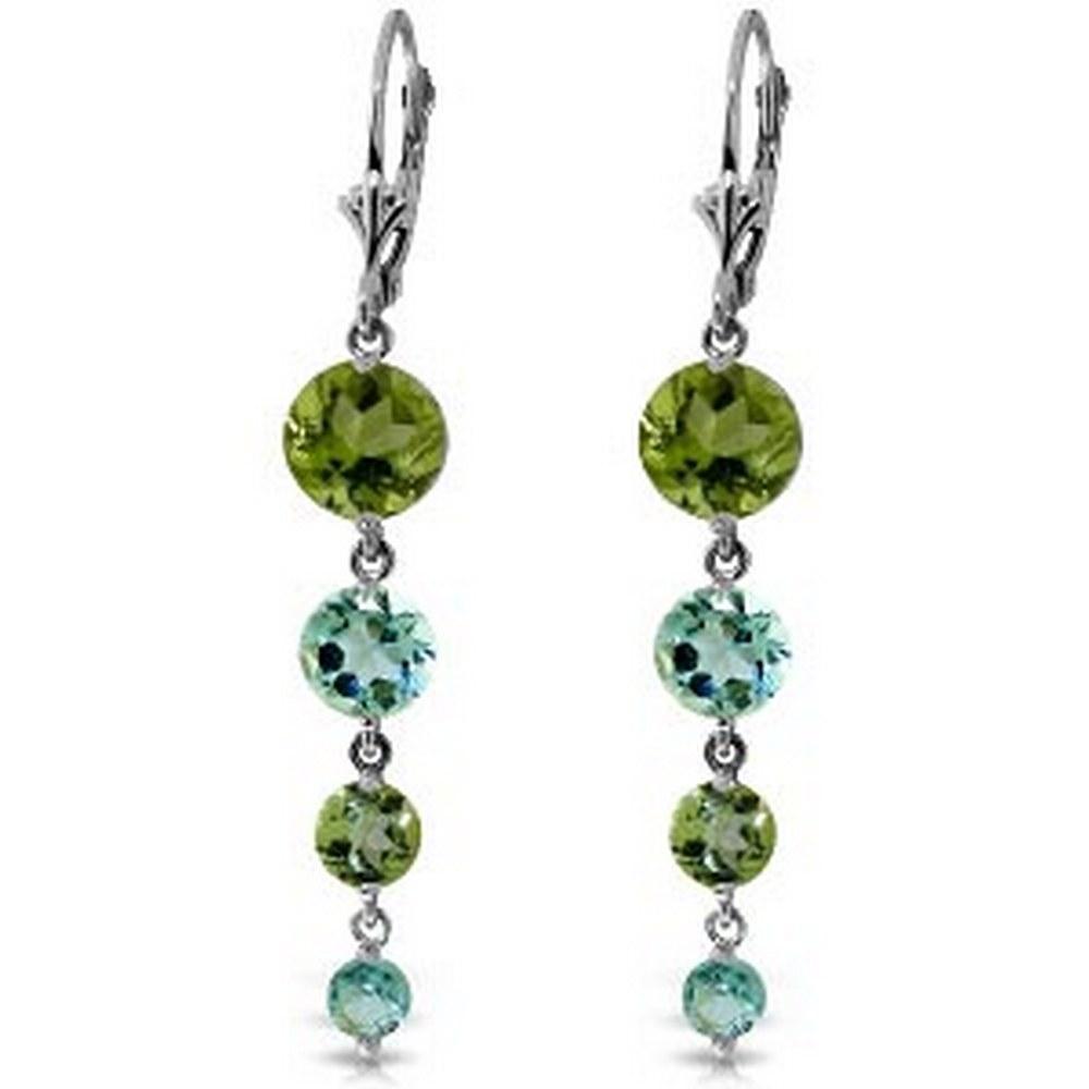 7.8 Carat 14K Solid White Gold Chandelier Earrings Peridot Blue Topaz #1AC92344