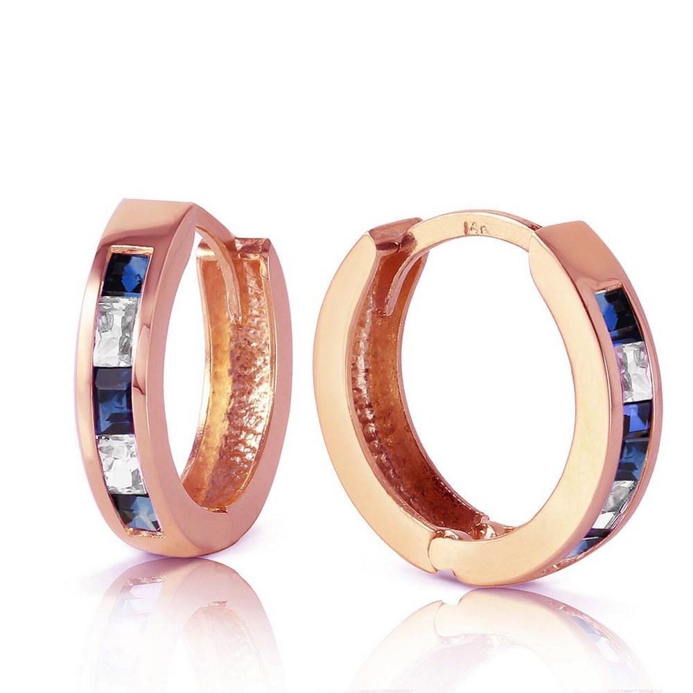 1.26 Carat 14K Solid Rose Gold Hoop Earrings Natural Sapphire Rose Topaz #1AC93417