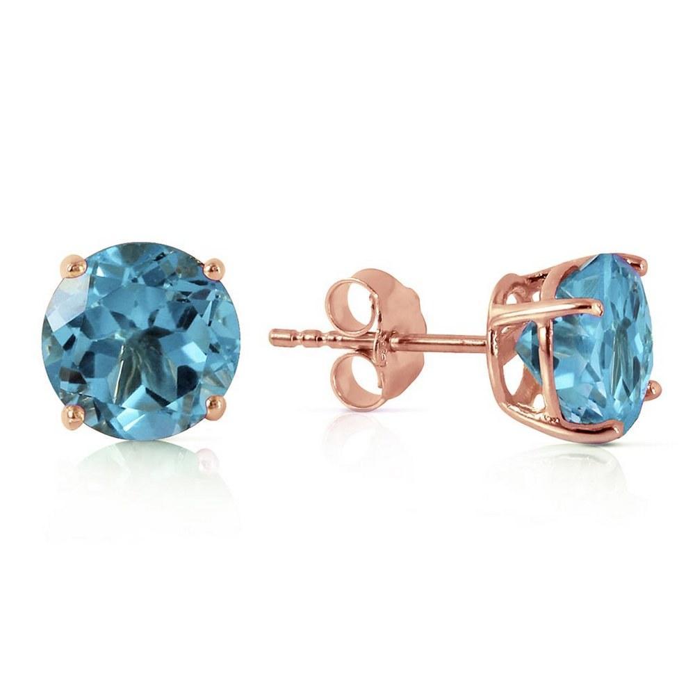 3.1 Carat 14K Solid Rose Gold Anna Blue Topaz Stud Earrings #1AC91779