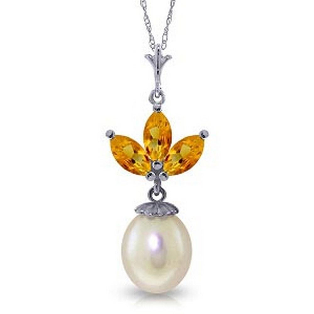 4.75 Carat 14K Solid White Gold Necklace pearl Citrine #1AC93094