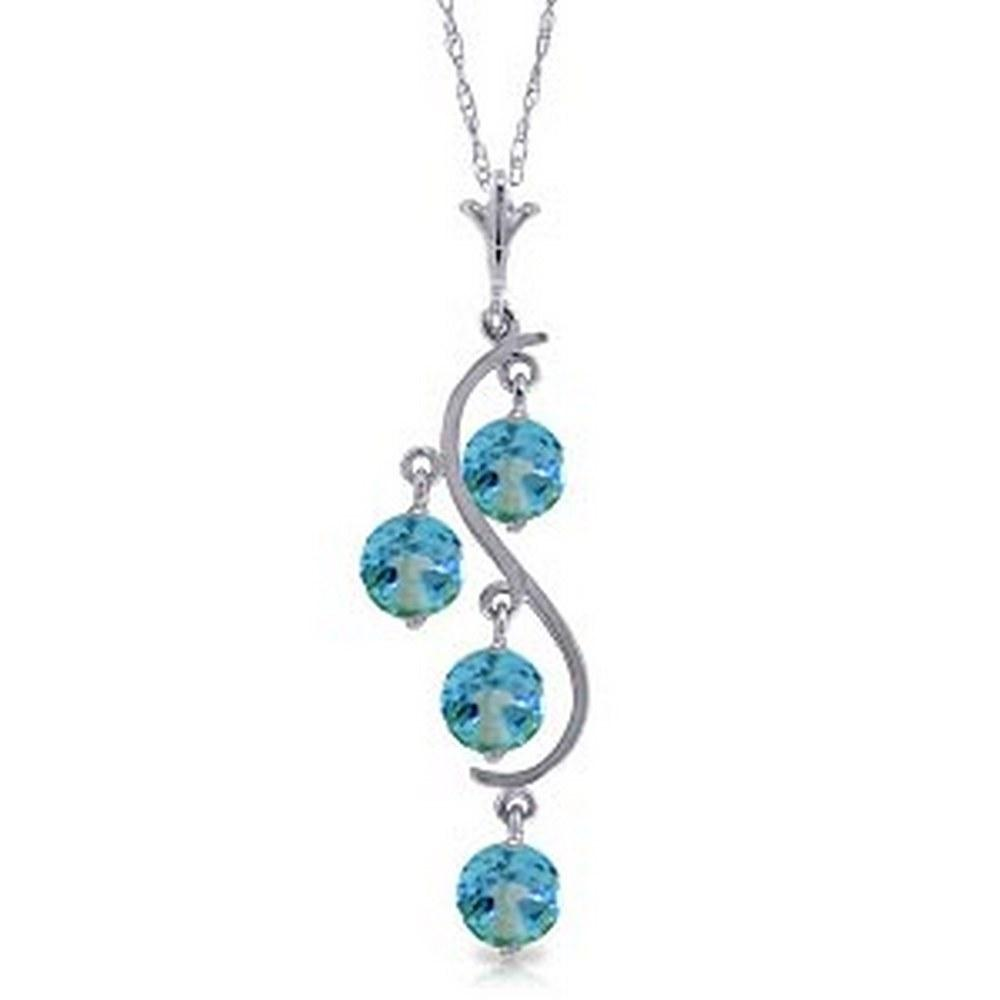 2.25 Carat 14K Solid White Gold Move The Earth Blue Topaz Necklace #1AC91888