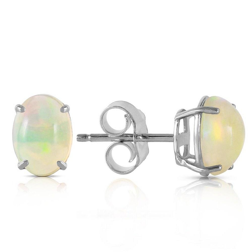 0.9 Carat 14K Solid White Gold Yours To Love Opal Earrings #1AC93807
