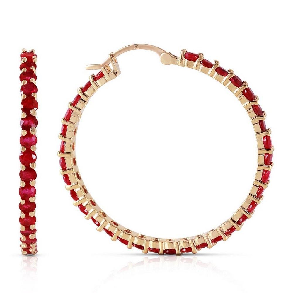 6 Carat 14K Solid Gold Alana Ruby Hoop Earrings #1AC93517