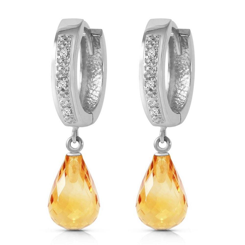 4.54 CTW 14K Solid White Gold Epitome Of Elegance Citrine Diamond Earrings #1AC93370