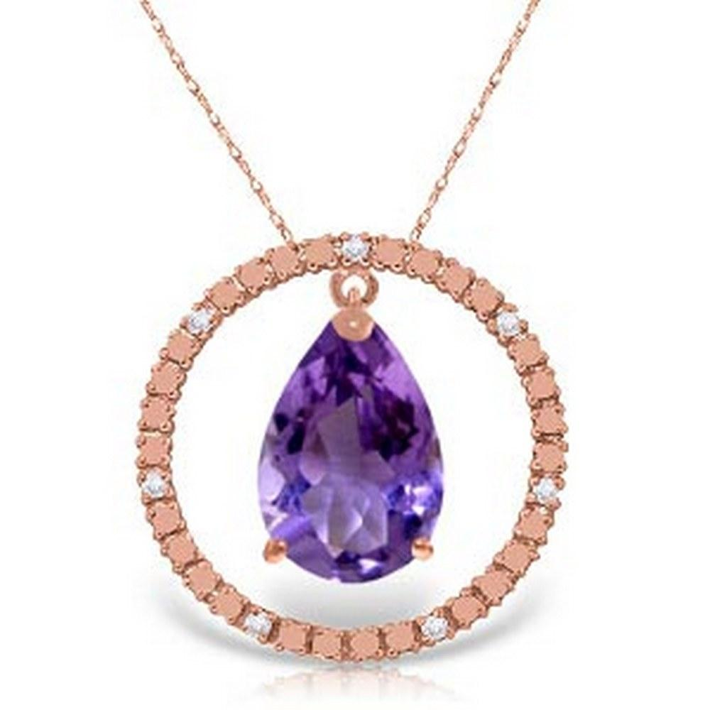 14K Solid Rose Gold Diamonds & Amethyst Circle Of Love Necklace #1AC92901