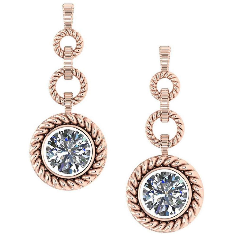 Certified 3.00 Ctw Diamond 14K Rose Gold Earrings #1AC17245
