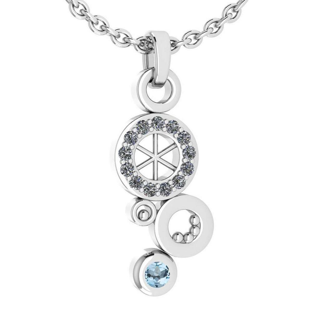 Certified 0.26 Ctw Aquamarine And Diamond Octopus Styles Pendant For womens New Expressions nautical collection 14K White Gold (VS/SI1) #1AC17758