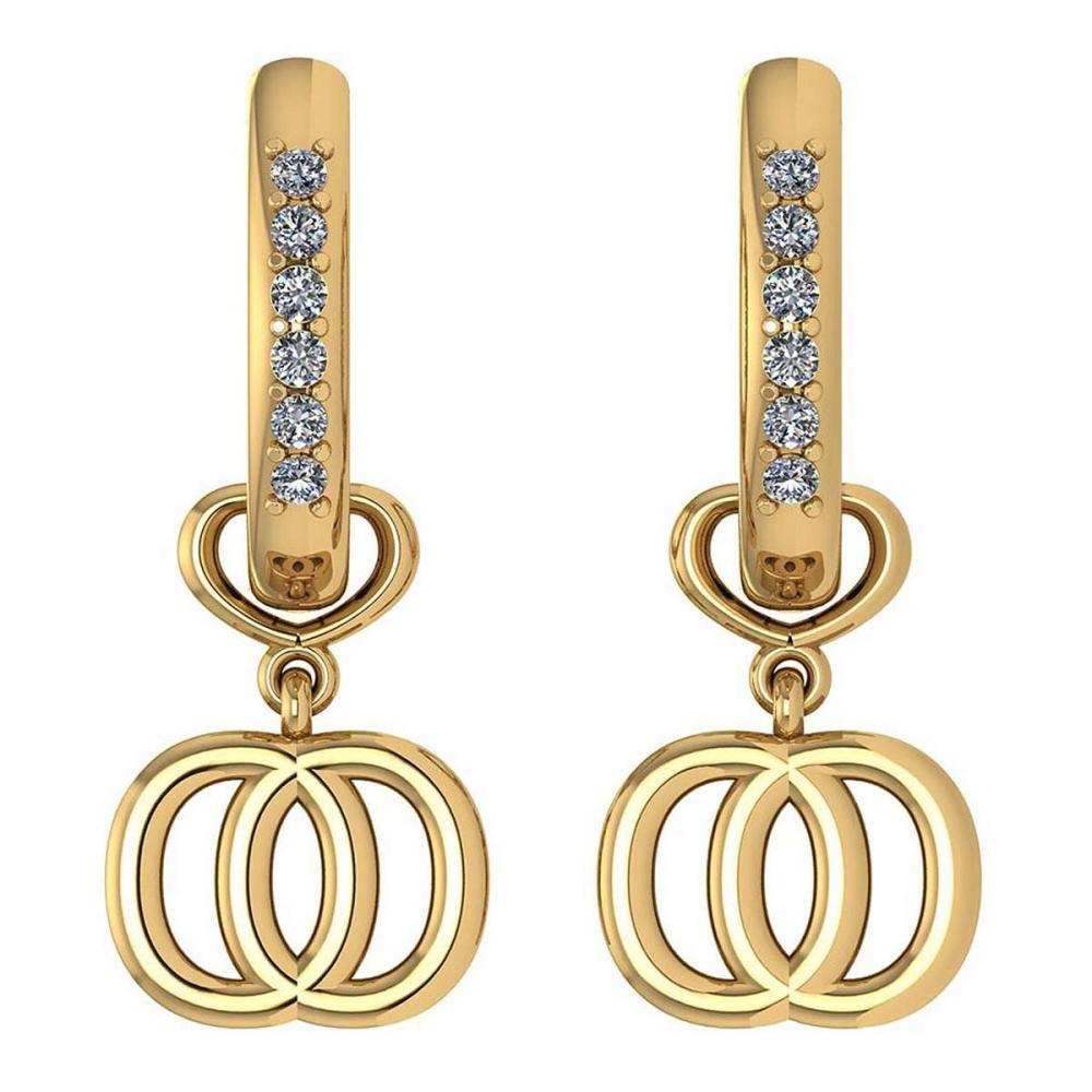 Certified 0.16 Ctw Diamond Alphabet O Earrings For womens New Expressions of Love collection 14K Yellow Gold (SI2/I1) #1AC16867