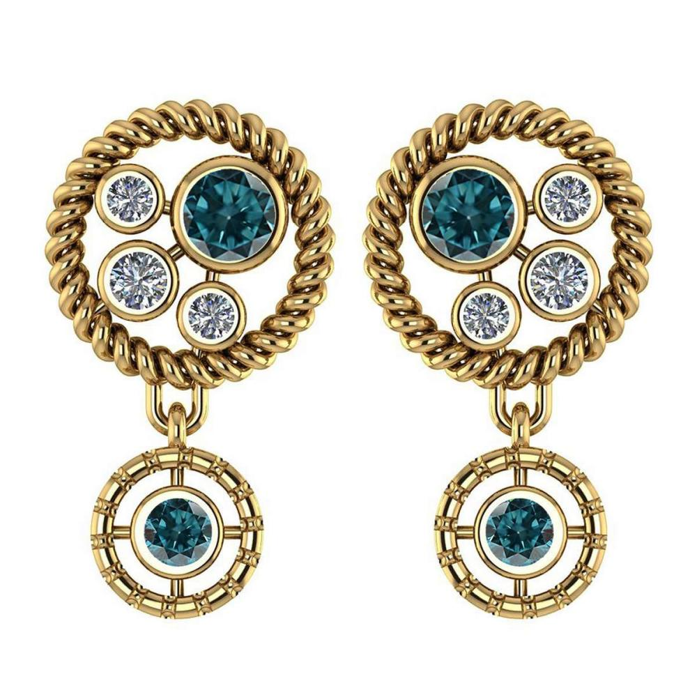 Certified 0.84 Ctw Treated Fancy Blue Diamond Wedding/Engagement Style Stud Earrings 14K Yellow Gold (SI2/I1) #1AC17790
