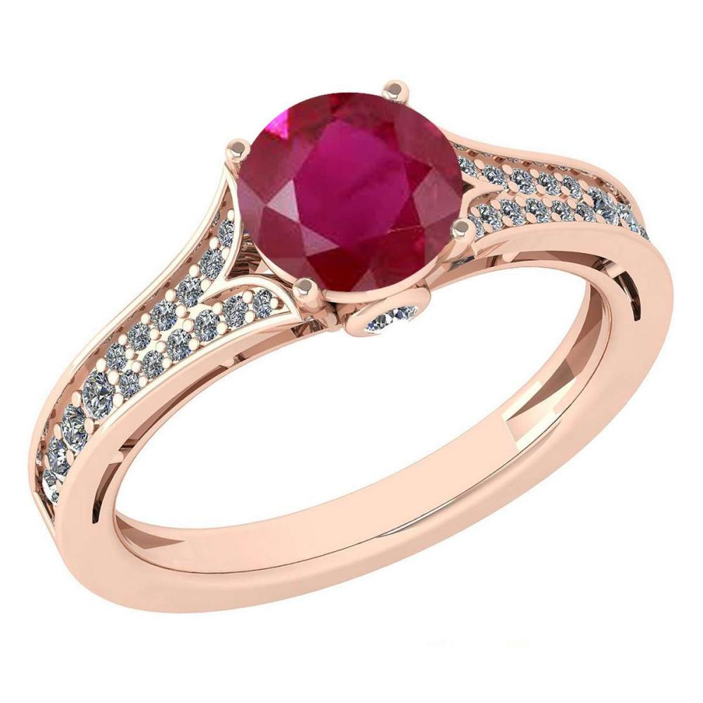 Certified 1.47 Ctw Ruby And Diamond Wedding/Engagement 14K Rose Gold Halo Ring (VS/SI1) #1AC17724