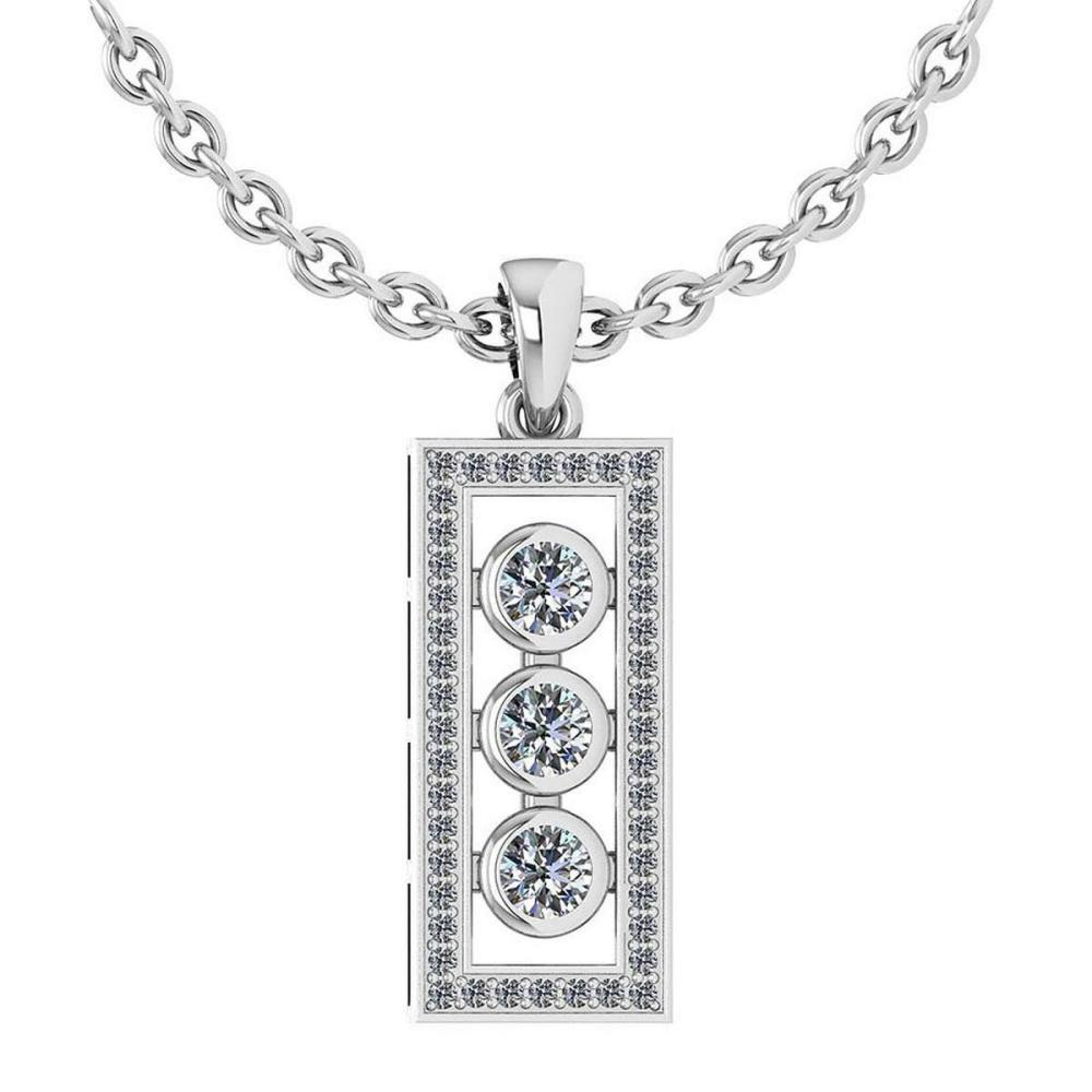 Certified 0.74 Ctw Diamond Necklace For womens New Expressions of Love collection 14K White Gold #1AC17223