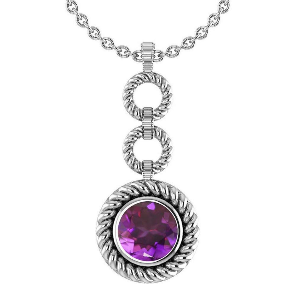 Certified 6.84 Ctw Amethyst Necklace For womens New Expressions of Love collection 14K White Gold #1AC17127