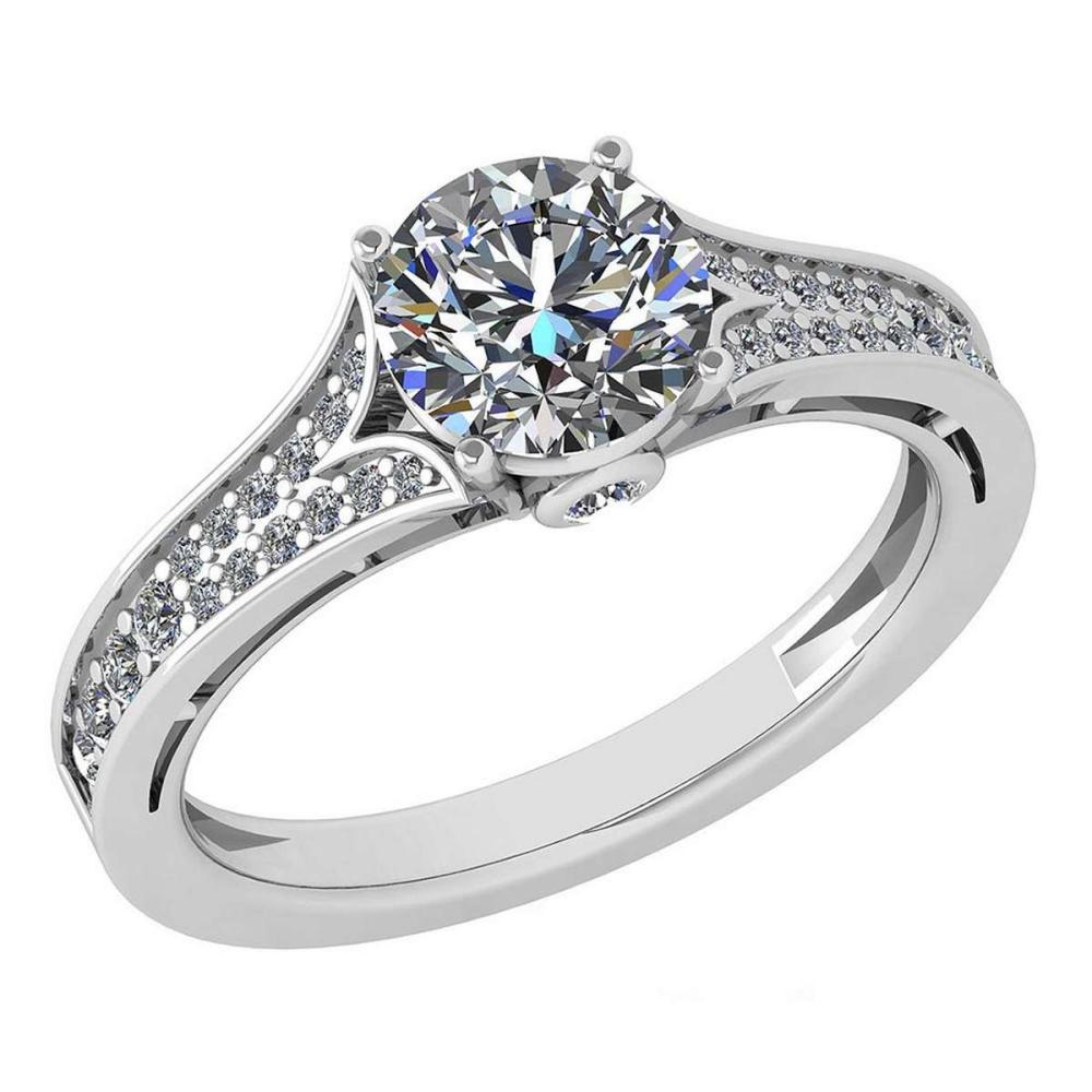 Certified 1.48 Ctw Diamond Engagement /Wedding 14K White Gold Promise Ring #1AC17079