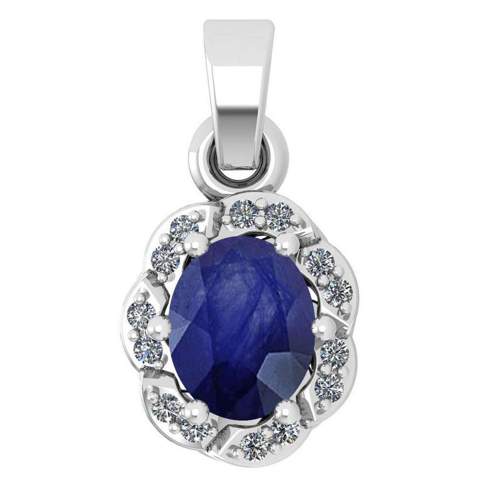 Certified 0.38 Ctw Blue Sapphire And Diamond 14k White Gold Simple Pendant (SI2/I1) #1AC17776