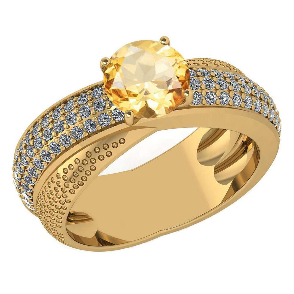 Certified 1.75 Ctw Citrine And Diamond Wedding/Engagement 14K Yellow Gold Halo Ring (VS/SI1) #1AC17764