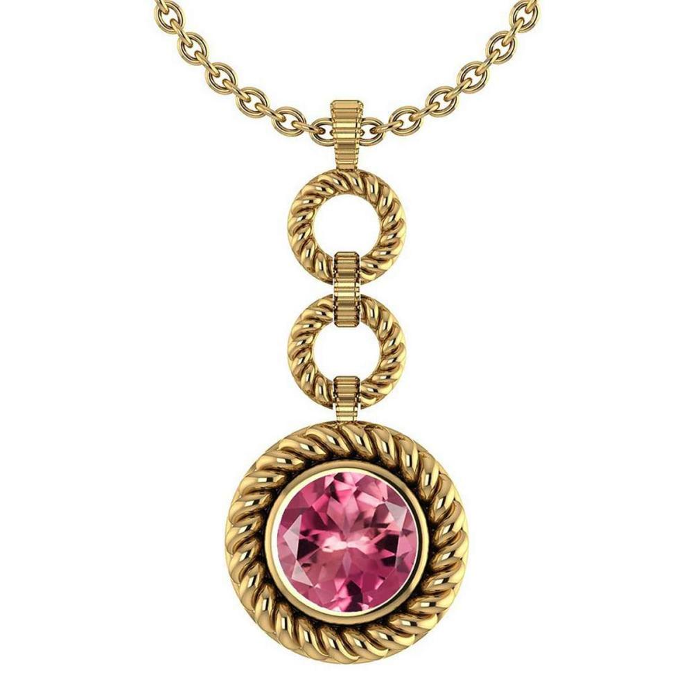 Certified 6.84 Ctw Pink Tourmaline Necklace For womens New Expressions of Love collection 14K Yellow Gold #1AC17457