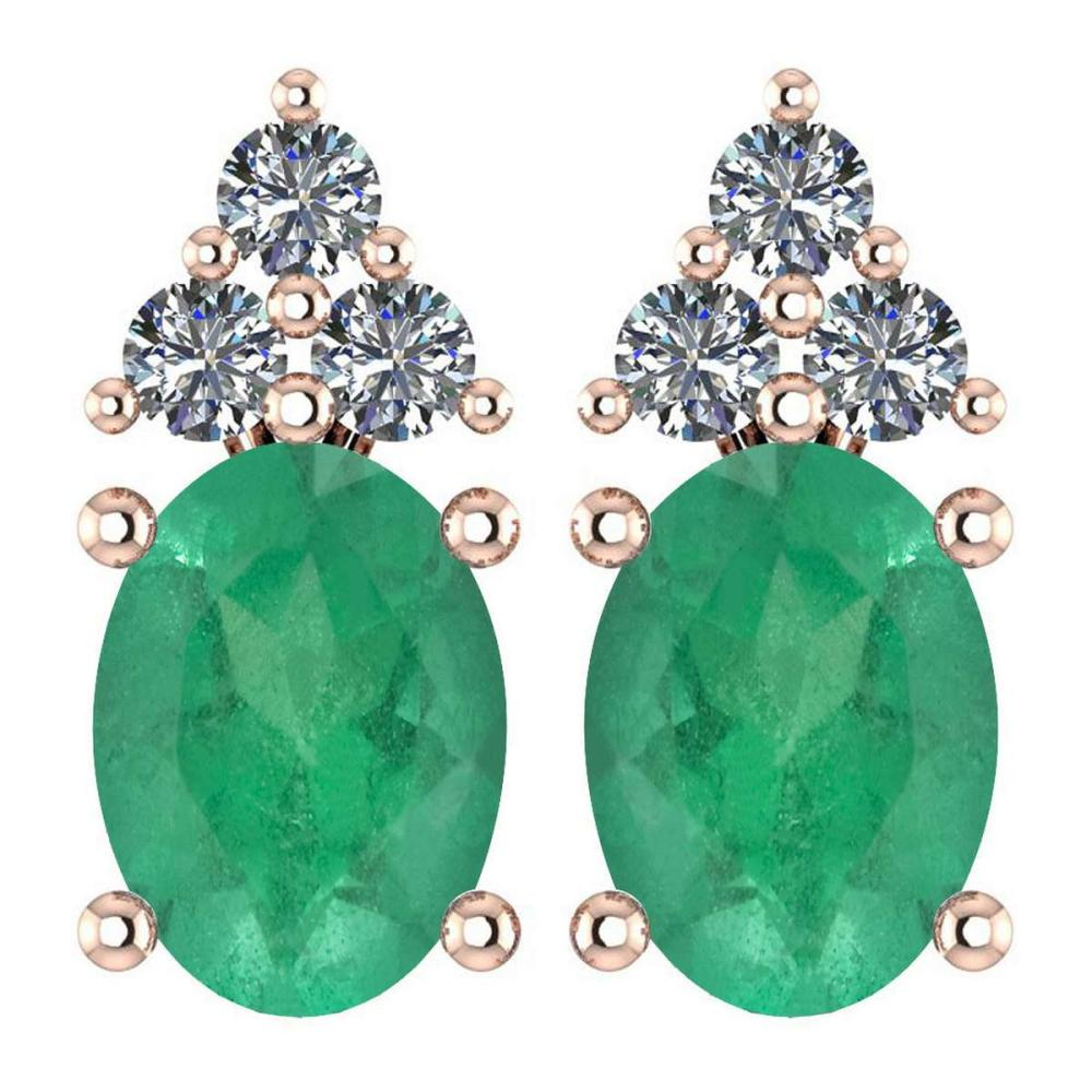Certified 1.46 Ctw Emerald And Diamond Wedding/Engagement 14K White Gold Stud Earrings (VS/SI1) #1AC17824