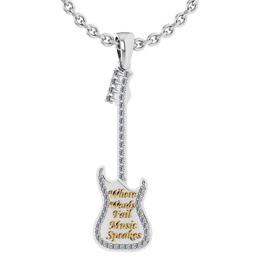 Certified 0.32 Ctw Diamond Nekless For womens New Expressions Guitar?collection 14K White Gold (SI2/I1) #1AC16844