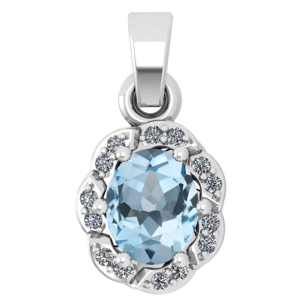 Certified 0.38 Ctw Aquamarine And Diamond 14k White Gold Simple Pendant (SI2/I1) #1AC17777