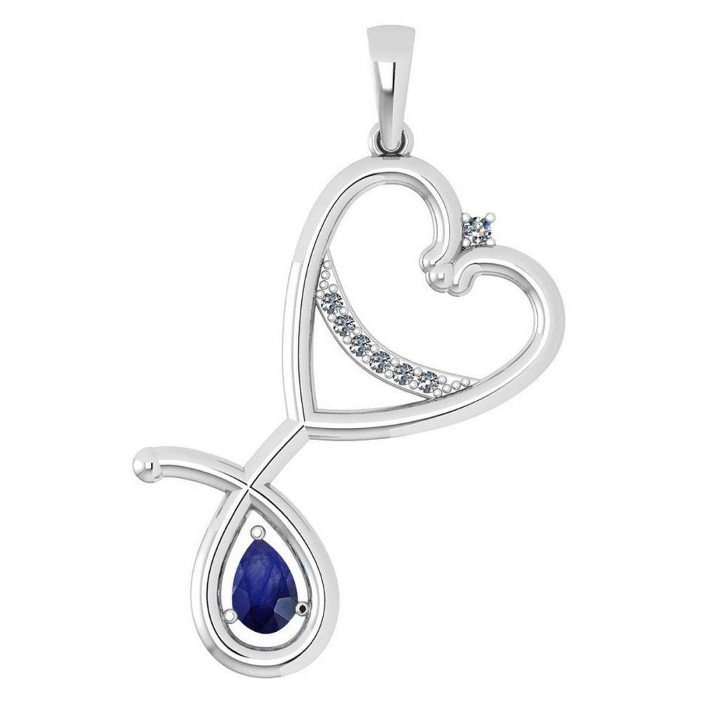 Certified 0.60 Ctw Blue Sapphire And Diamond Pendant For womens New Expressions Love collection 14K White Gold (VS/SI1) #1AC17751
