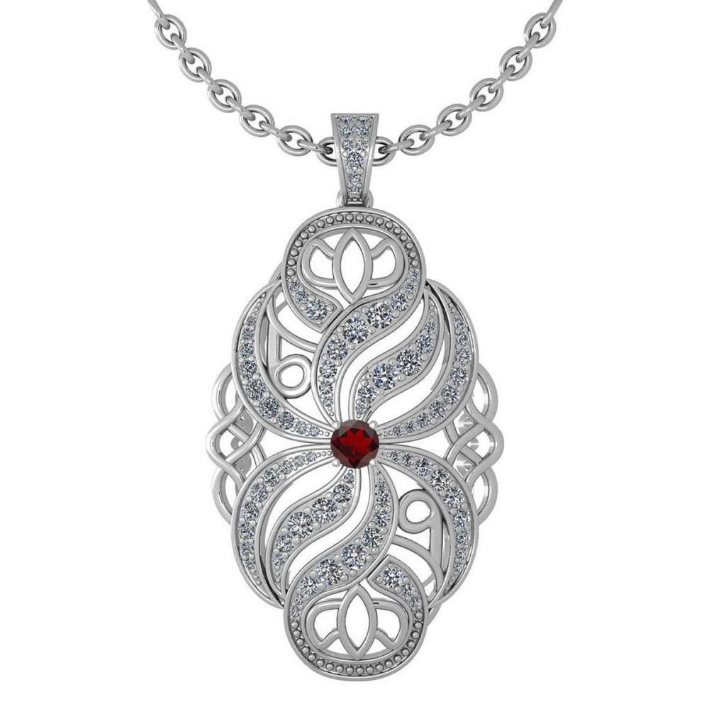 Certified 1.37 Ctw Garnet And Diamond Necklace For Styles Females 14k White Gold (VS/SI1) #1AC17794