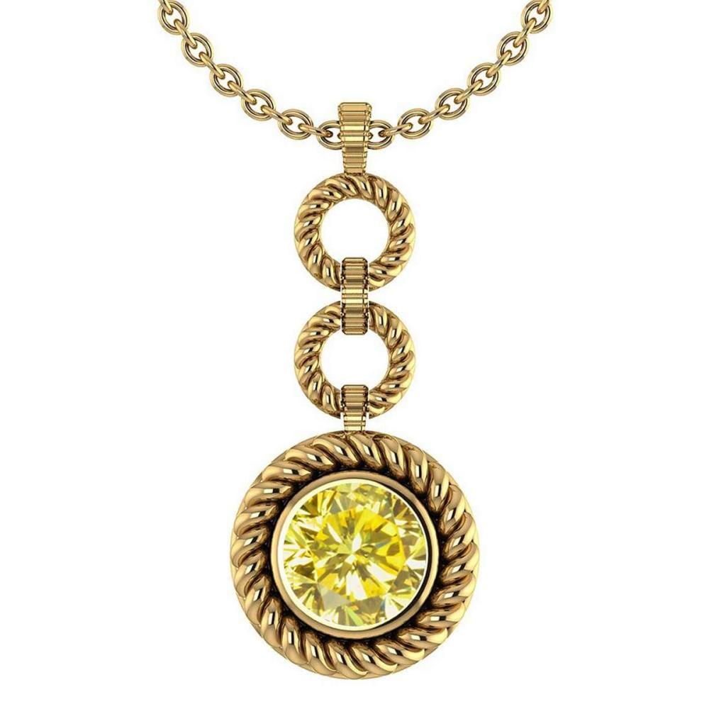 Certified 6.84 Ctw Treated Fancy Yellow Diamond Necklace For womens New Expressions of Love collection 14K Yellow Gold #1AC17458