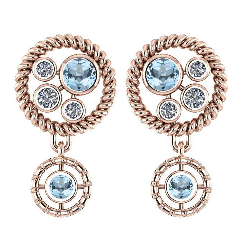 Certified 0.84 Ctw Aquamarine And Diamond Wedding/Engagement Style Stud Earrings 14K Rose Gold #1AC17442