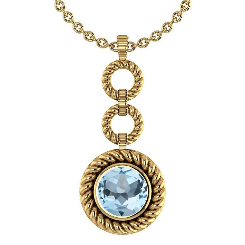 Certified 6.84 Ctw Aquamarine Necklace For womens New Expressions of Love collection 14K Yellow Gold #1AC17456