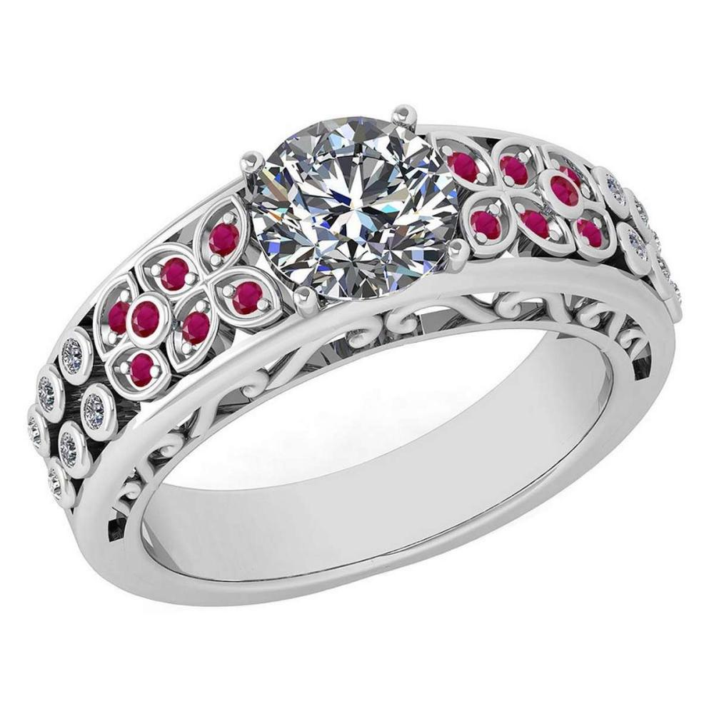 Certified 1.57 Ctw Ruby And White G-H Diamond Wedding/Engagement 14K Rose Gold Halo Ring #1AC17322