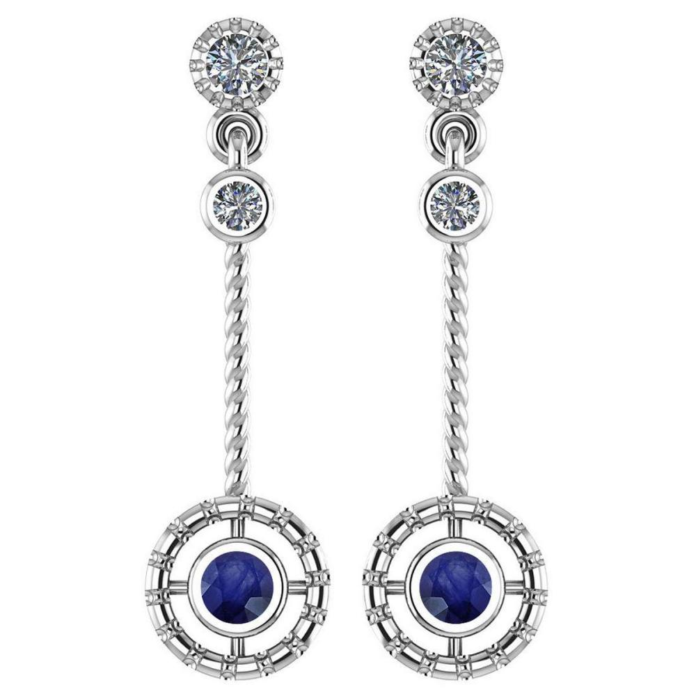 Certified 0.31 Ctw Blue Sapphire And Diamond Wedding/Engagement Style 14K White Gold Drop Earrings (SI2/I1) #1AC17743