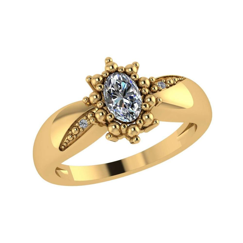 Certified 0.51 Ctw Diamond 14K Yellow Gold Promise Ring #1AC17093