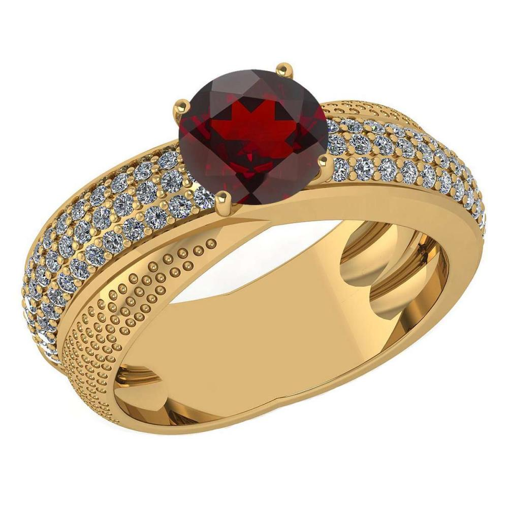 Certified 1.75 Ctw Garnet And Diamond Wedding/Engagement 14K Yellow Gold Halo Ring (VS/SI1) #1AC17761
