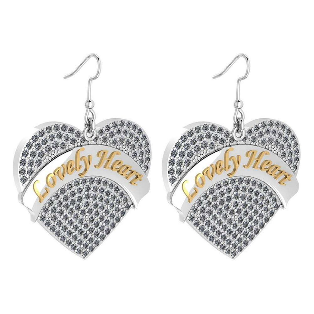 Certified 1.40 Ctw Diamond Striped Heart Wire Hook Earrings from the New Expressions of Love collection 14K White gold (SI2/I1) #1AC16832