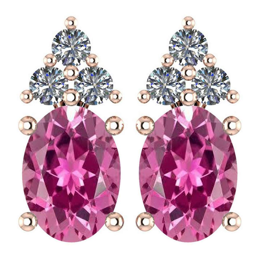 Certified 1.46 Ctw Pink Tourmaline And Diamond Wedding/Engagement 14K Rose Gold Stud Earrings (VS/SI1) #1AC17823