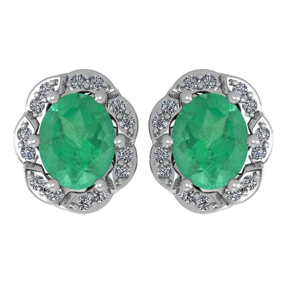 Certified 0.88 Ctw Emerlad And Diamond 14K White Gold Stud Earrings #1AC17260