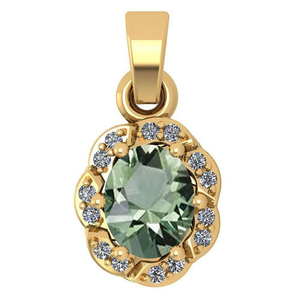 Certified 0.38 Ctw Green Amethyst And Diamond 14k Yellow Gold Simple Pendant #1AC17461