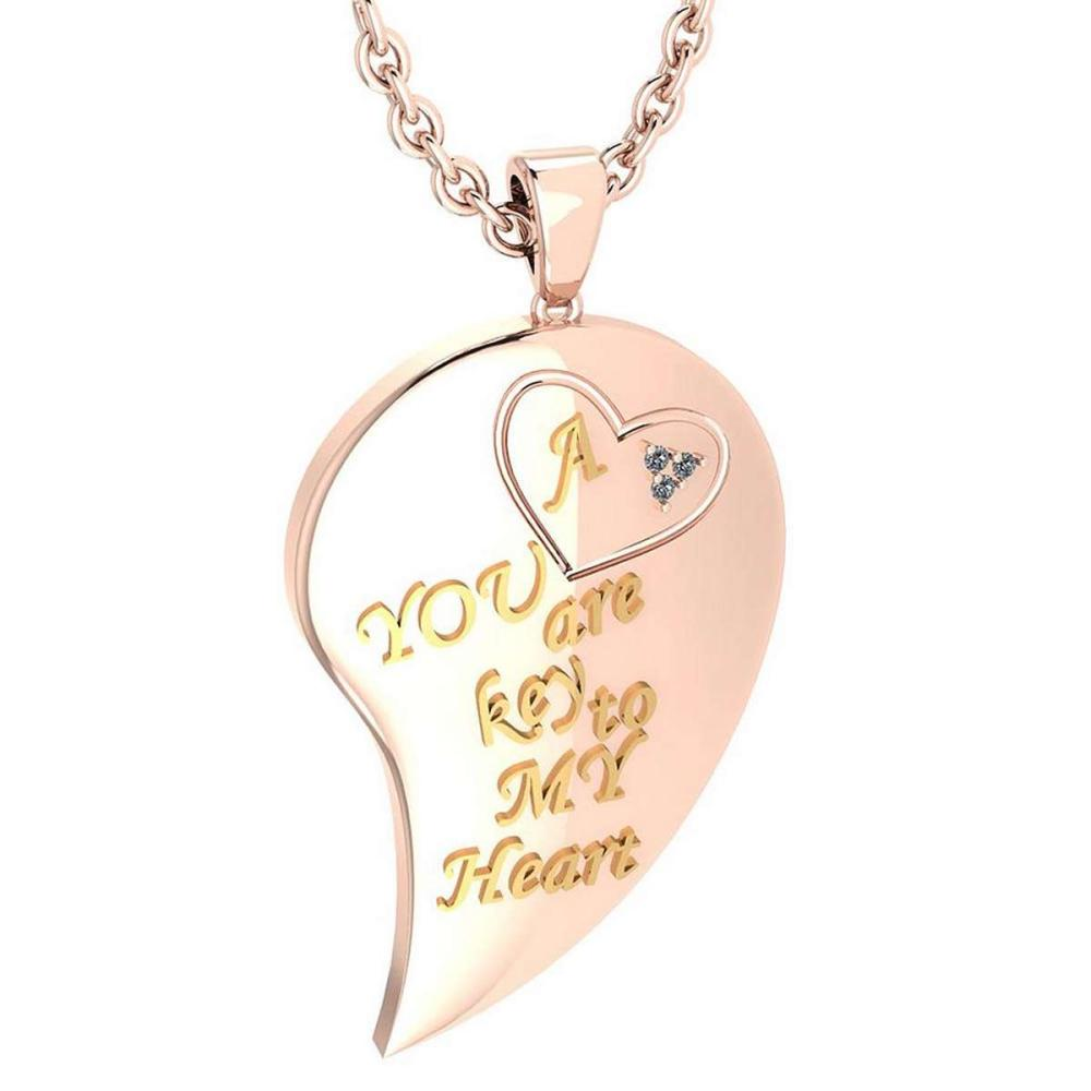 Certified 0.03 Ctw Diamond Nekless For womens New Expressions of Love collection 14K Rose Gold (SI2/I1) #1AC16851
