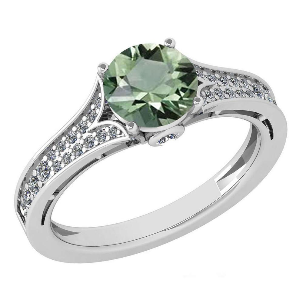 Certified 1.47 Ctw Green Amethyst And Diamond Wedding/Engagement 14K White Gold Halo Ring (VS/SI1) #1AC17737