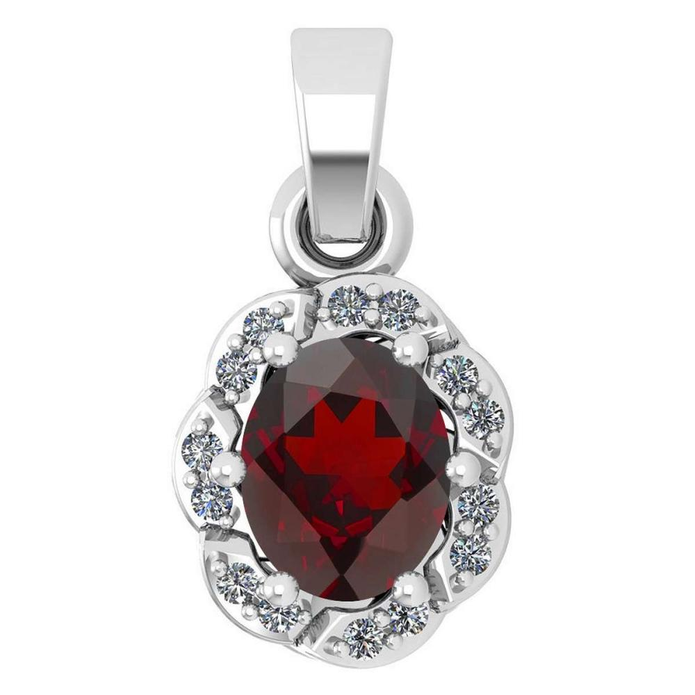Certified 0.38 Ctw Garnet And Diamond 14k White Gold Simple Pendant (SI2/I1) #1AC17798