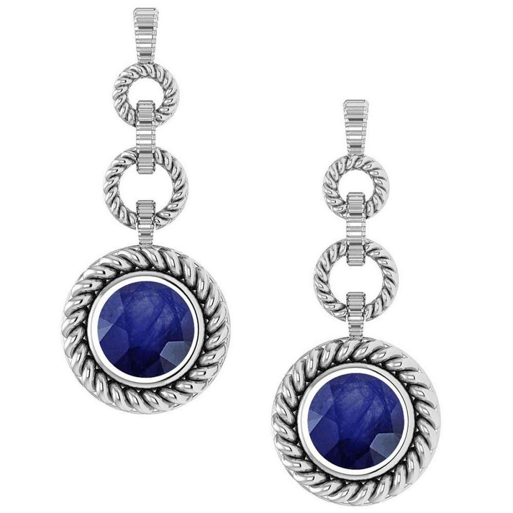 Certified 5.00 Ctw Blue Sapphire Hanging Stud Earrings 14K White Gold #1AC17122