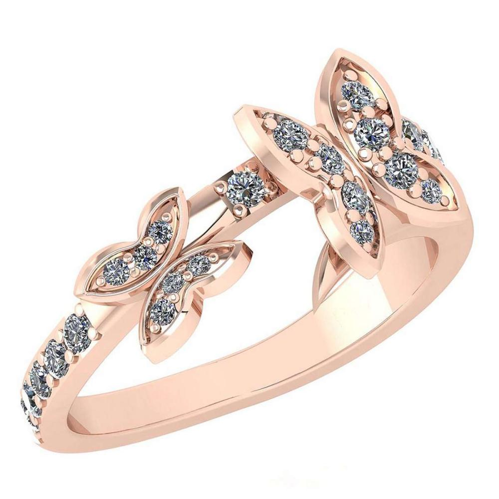 Certified 0.33 Ctw Diamond Halo Ring For womens New Expressions of Butterfly collection 14K Rose Gold #1AC17248
