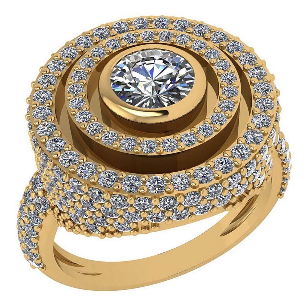 Certified 2.05 Ctw Diamond Wedding/Engagement 14K Yellow Gold Halo Ring #1AC16963